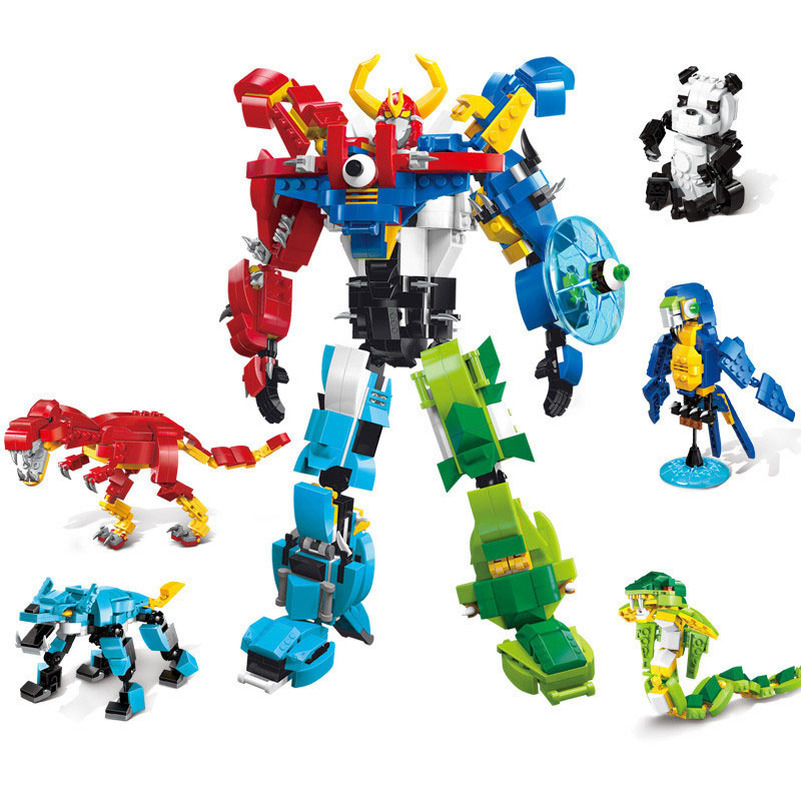 Kids Gifts 5 In 1 Megazord Robot Figures Puzzle Dinosaurs Building Blocks Assembly Deformation Toys Transformation Figures Toy 5 in 1 assembly toys transformation robot dinosaur rangers megazord action figures kids christmas gifts