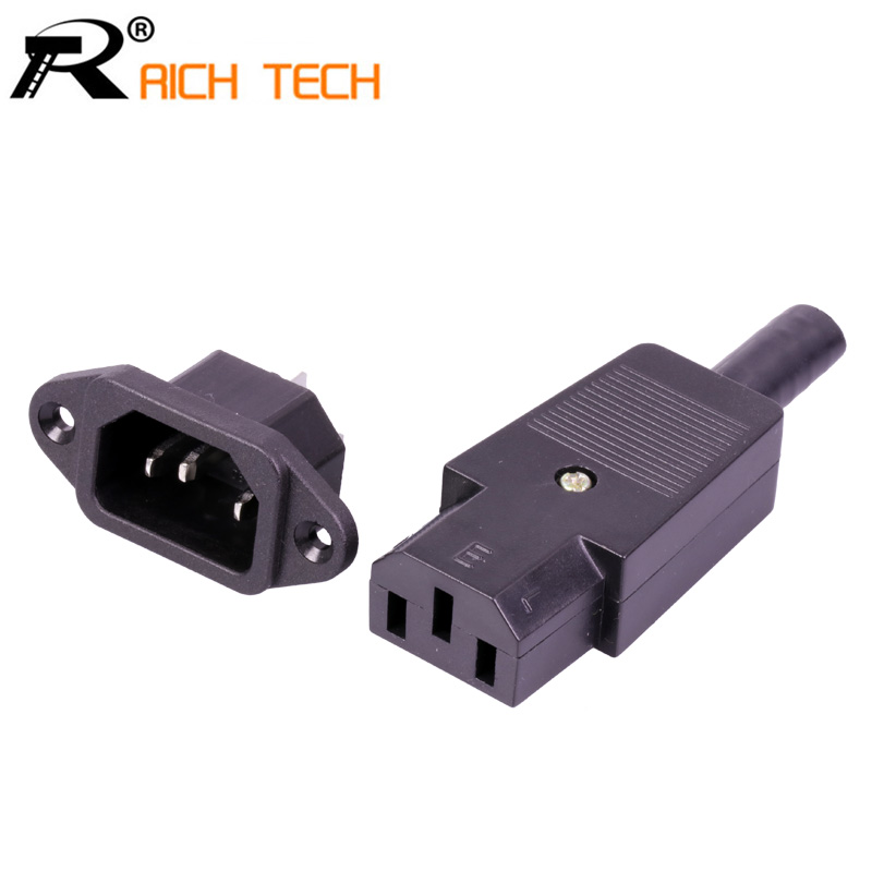 Full Set DC Plug&Jack 220V DC/AC Power Jack Terminal 3pin AC/DC Plug Power Connector Wire Connector Male To Female