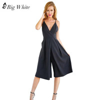 2016 Rompers Womens Black Spring Summer Elegant Size V Neck