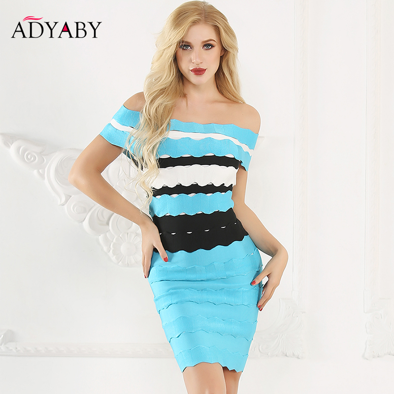 Striped Bandage Dress Women Summer 2019 New Arrival Sexy Off Shoulder Dress Bodycon Slash Neck Celebrity