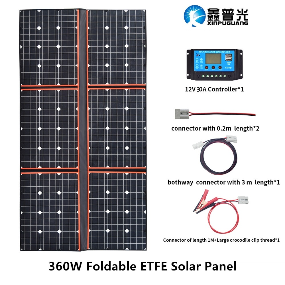 360W ETFE Solar Panel Portable Foldable Bag Module Cable 30A USB Controller for 12V Outdoor camping portable solar charger cell  - buy with discount