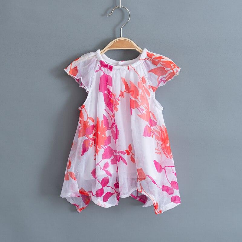 Drukowanie Baby Girl Clothes Set Kids Letnie szyfonowe bluzki + - Odzież dla niemowląt - Zdjęcie 3