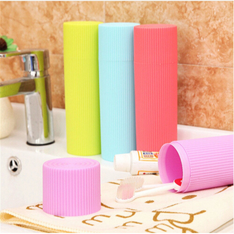 Cylindrical Protect Case For Traveling And Daily Use Portable Stripe Toothpaste Toothbrush Pen Stationery Holder Case Cover image
