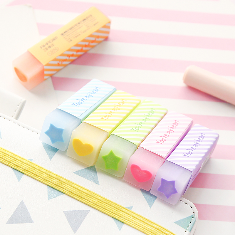 6 Pcs Macaron Color Eraser With Filling Lovely Heart Star Pencil Erasers Stationery Office School Supplies Gomas De A6993