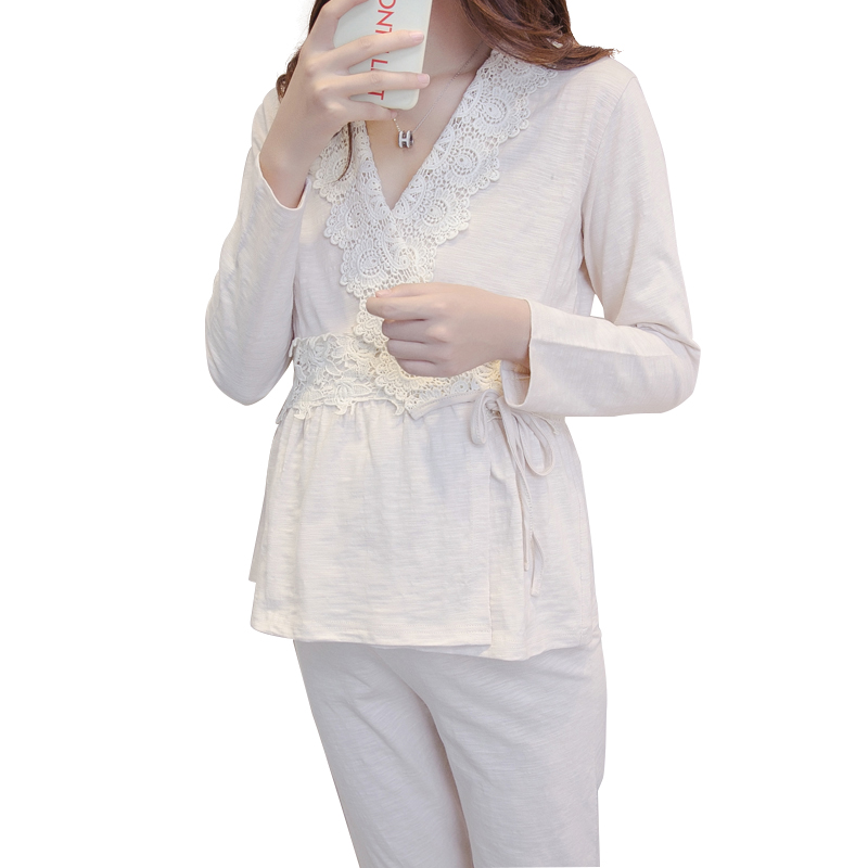 2b83018cd4b86 Nursing Nightgown Maternity Pajamas Pregnancy sleepwear Korean Cotton Kimono  maternity wear Breastfeeding Clothes Homewear A204 | The Brand Shop