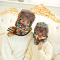 HT014 Kids Bomber Hat with Mask Winter Ski Fur Trapper Hat with Ear Flap Parent-Child beanie Hat Women Print Winter Mask Bomber