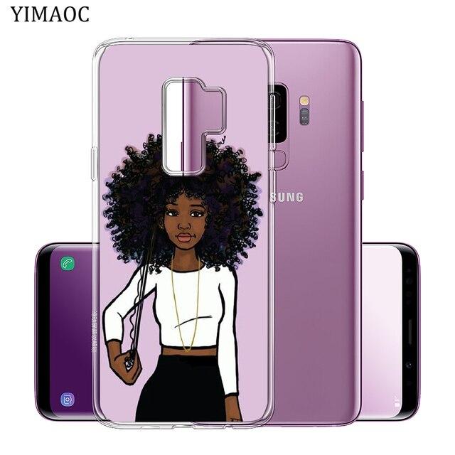N'DJAMENA Coque de téléphone Afro Filles mince Souple Tpu Silicone Cas de Téléphone pour Samsung Galaxy S9 S8 Plus S7 Bord Note 9 8 retour Couvercle Transparent 3