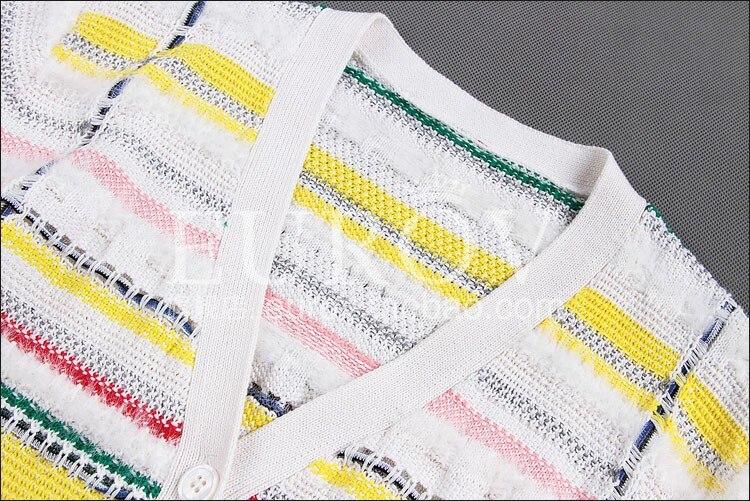Couleur Cardigan Automne Rayé Haute Polaire Femmes Cheveux Lapin Contraste Sweater2018new De Qualité Mode Bonbons Designer qXZ60X