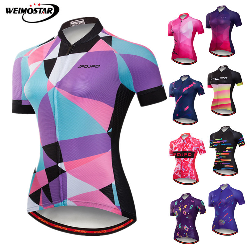 Weimostar Women Summer Short Sleeve Cycling Jersey Shirt  Outdoor Road MTB bike Jersey Top Bicycle Clothes Ropa Maillot ciclismo