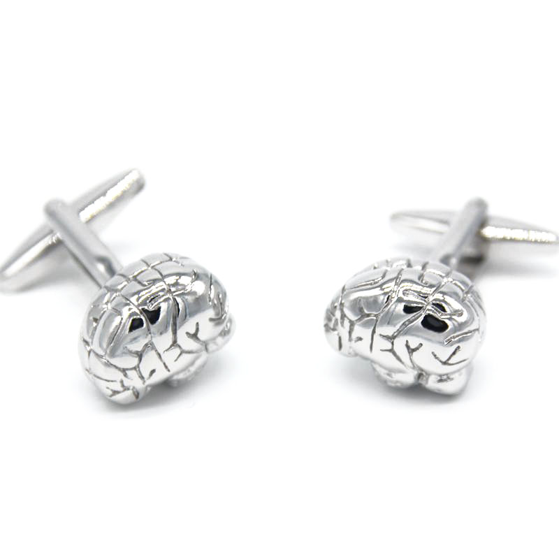 Wholesales retail Men s Jewelry Brainstorm Business Gift Cufflinks Silver Brain Shirt Wedding Unique Polished Free