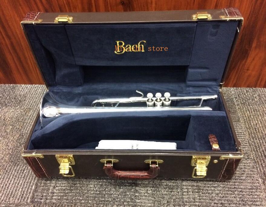 Profesional nivel Stradivarius plateado trompeta 37 trompeta con funda azul Original
