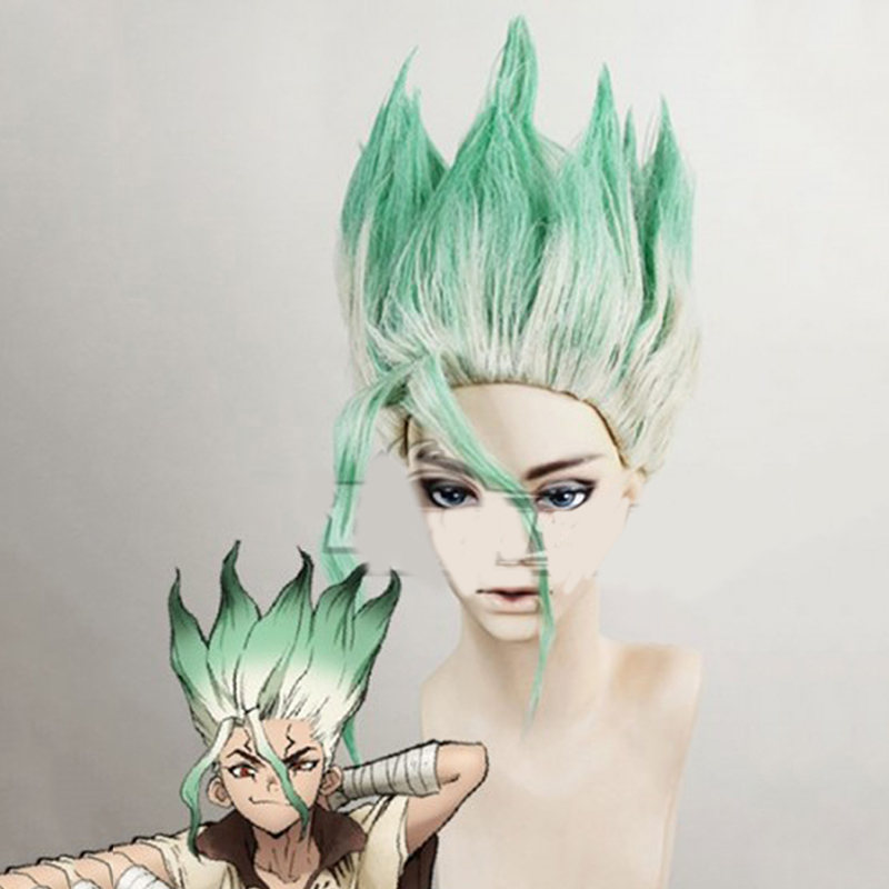 Anime Dr. Stone Costume Ishigami Senkuu Cosplay Wig Green Short Straight Hair Halloween Party Carnival Props Accessories
