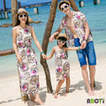 2015 New Summer Family Set Couple Clothes 100% Cotton Mother Daughter Beach Dress Matching Family Shirts Father Son Totem Blouse