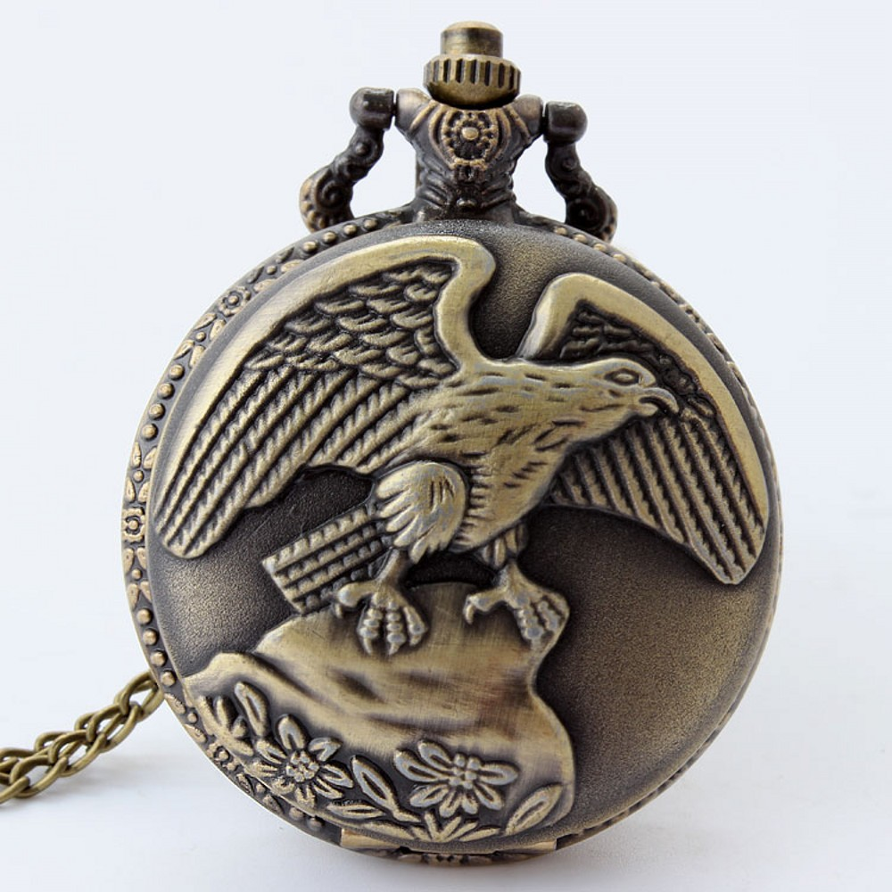 Retro Bronze Russia Eagle <font><b>Big</b></font> Quartz Pocket Chain <font><b>Watch</b></font> Flower Laser Engrave Dial Necklace Pendant Fob Clock <font><b>Unisex</b></font> Male Gift image