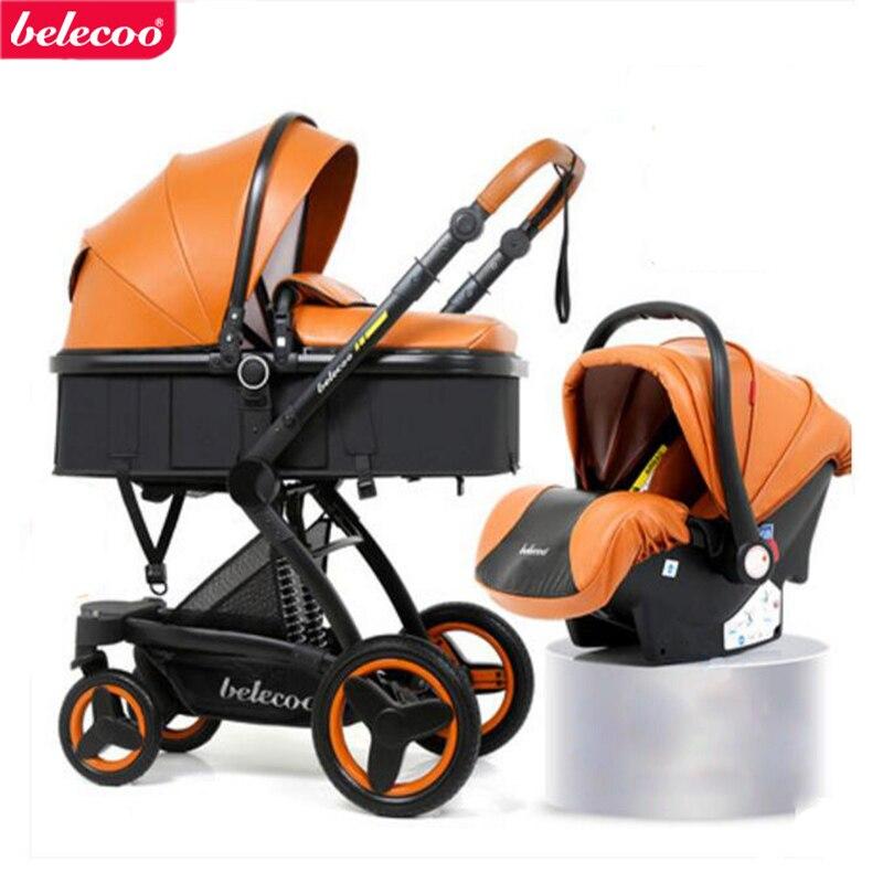 Belecoo bebé cesta 2 en 1. 3 en 1 puede sentarse y acostarse plegable de dos vías amortiguadores cochecito de cuero ecológico