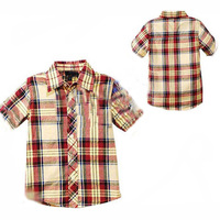 Summer Kids Boys Clothes T Shirt 2016 Fashion Plaid Pattern Boy Kids Clothes T Shirt Summer