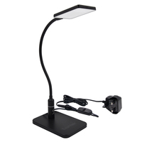 Touch Dimmable Clip On LED Desk Lamp Black LED Table Light Metal LED Reading Light with Flexible Gooseneck Eye Care with UK Plug