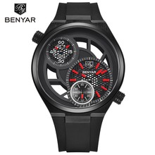 Big Dial Design Men's Watches BENYAR Fashion Luxury Hollow Male Sports Clock Men Waterproof Military Quartz Watch Relojes Hombre