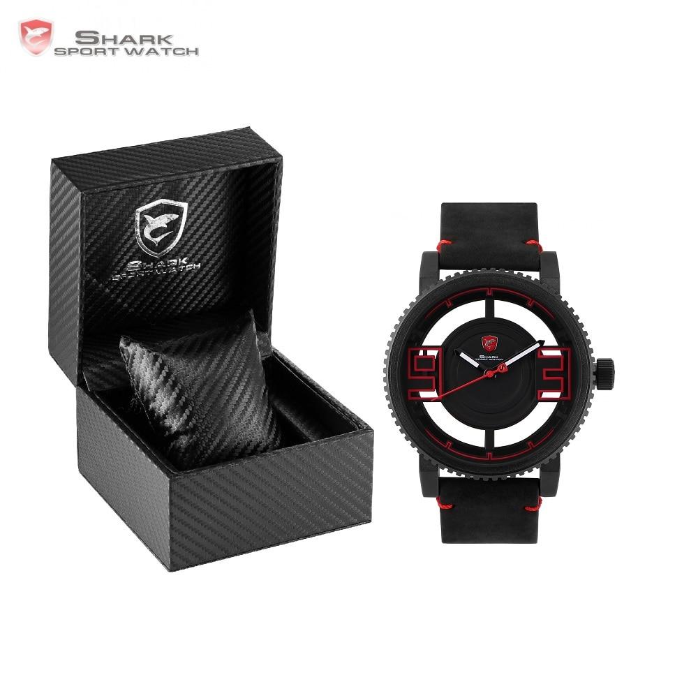 Luxury Leather Box Megamouth Shark Sport Watch 3D Special Transparent Designer Brand Leather Band Quartz Male Watches /SH542-545 greenland shark sport watch brand