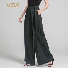 цена VOA 2017 Summer Fashion Silk High Waist Wide Leg Pants Dark Green Plus Size Loose Casual Sashes Solid Women Trouser KLH00701 в интернет-магазинах