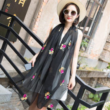 Embroidered Scarf Female Spring and Autumn New Chiffon National Wind Super Large Silk Scarf Air Conditioning Shawl Long Sunscree spring summer autumn new silk scarf woman scarf female all match scarf long design air conditioning cape silk scarves shawl