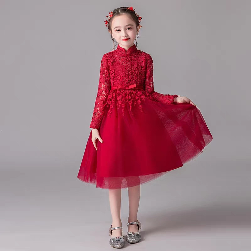 3~14Year Children Girls Red/White Color Model Show Catwalk Piano Host Pageant Princess Lace Dress Baby Kids Birthday Party Dress3~14Year Children Girls Red/White Color Model Show Catwalk Piano Host Pageant Princess Lace Dress Baby Kids Birthday Party Dress