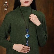 Luckilyluke 0051 Vintage Pendant Necklaces Women Ethnic Shell Flower Suspension Necklace Blue Stone Sweater Necklace New Arrival