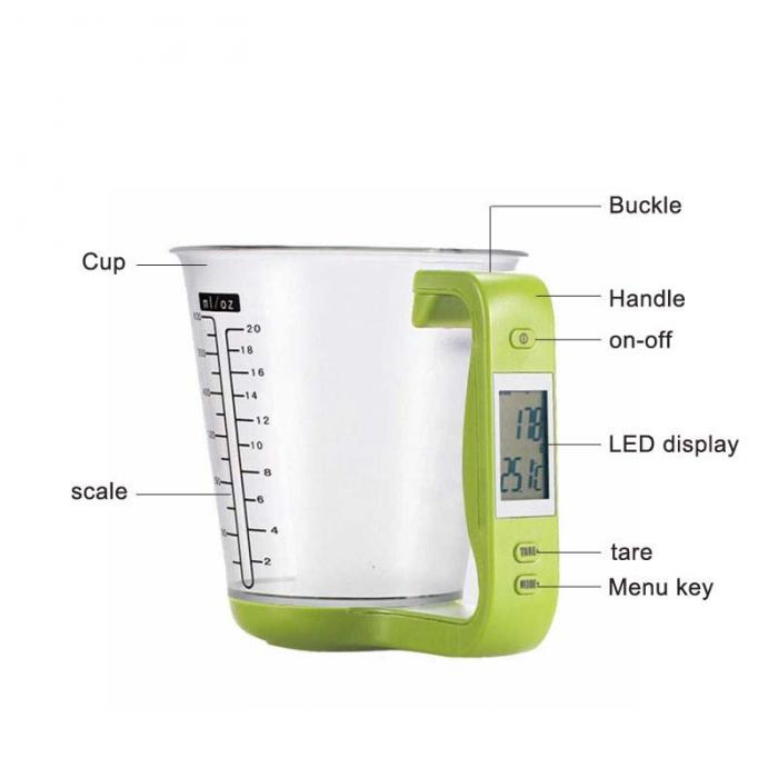 Elegant Portable Electronic Measuring Cups With LCD Display Liquid Measure Cup  Household Scales Kichen Tools E2S