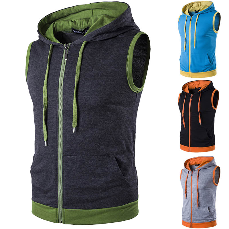 EU Size Spring Hooded Sweatshirt Gym Tank Tops For Men Bodybuilding Casual Sleeveless Hoodie Vest With Pocket Outwear Blue Black