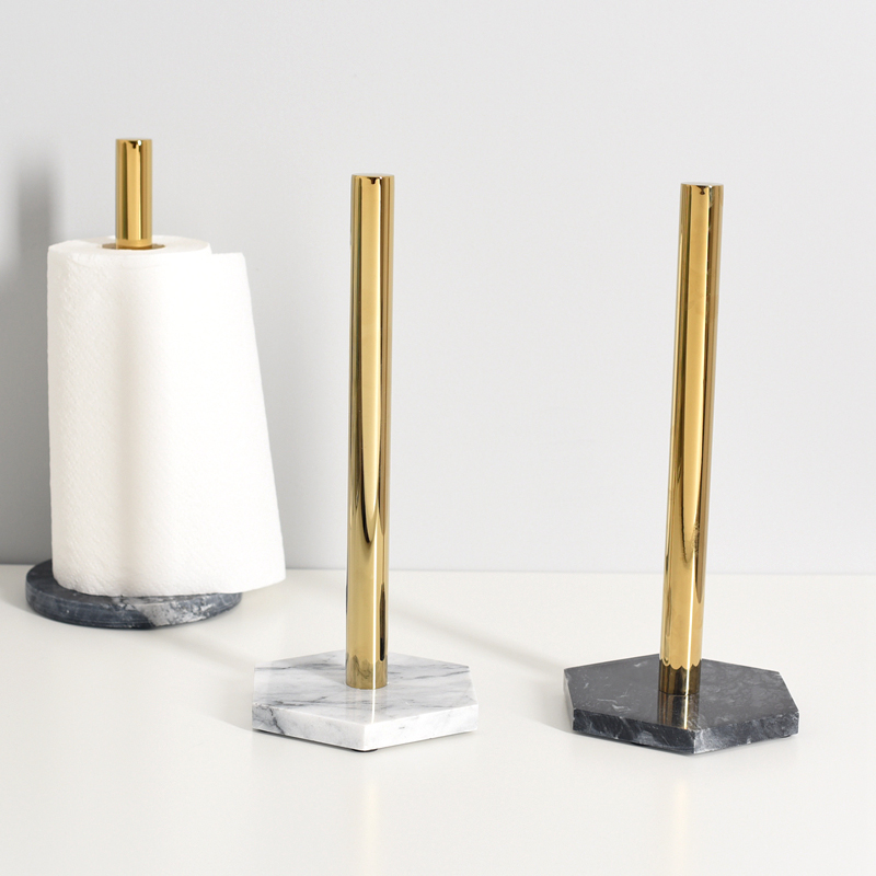 Countertop Creative Roll Holder Kitchen Napkin Holder Nordic Marble Gold-plated Paper Holder Toilet Paper Organizer Storage Rack