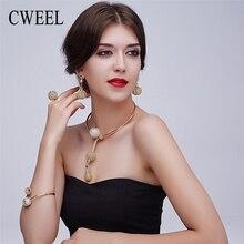 Cweel encanto plateó sistemas de la joyería para las mujeres africanas collar pandent largo pendientes anillos pulsera accesorios del vestido de fiesta