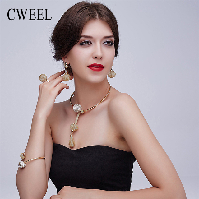 Cweel charme banhado a ouro conjuntos de jóias para as mulheres africanas colar pandent colar longo brincos pulseira anéis acessórios vestido de festa