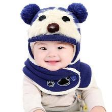 fa98908bd48d Bébé bonnet Mignon Hiver Bébé Enfants Filles Garçons Chaud De Laine Coiffe  capot garçons écharpe cap Chapeaux bébé chapeau d hiv.