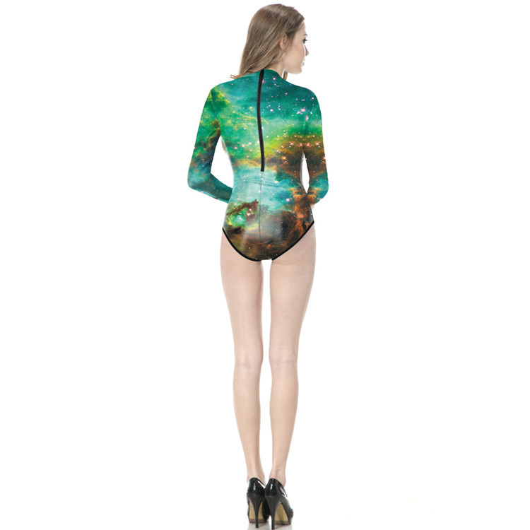 Aliexpress.com   Buy Green Galaxy Space Aurora One Piece Bodysuit Long  Sleeve Swimwear Women Diving Sport Swimsuits Zipper Monokinis Conservative  from ... 54cd0f549