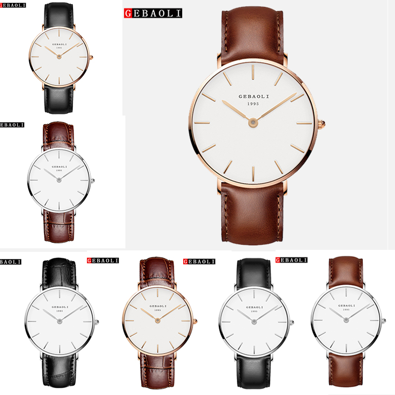 New Women Luxury Brand Quartz Watch Xfcs Dw Clock Ladies Rose Gold Brown Watches Fashion Simple Leather Wrist Watch Clock Saat
