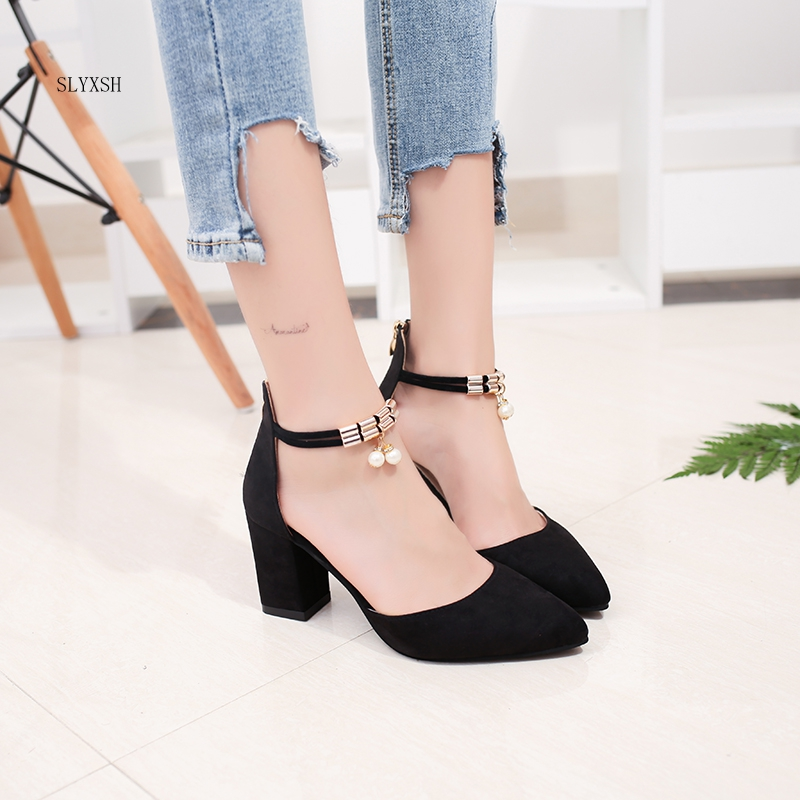 2018 Autumn Women Shoes Pointed Toe Pumps Dress Sandals High Heels Boat Shoes Wedding Shoes Tenis Feminino Side With