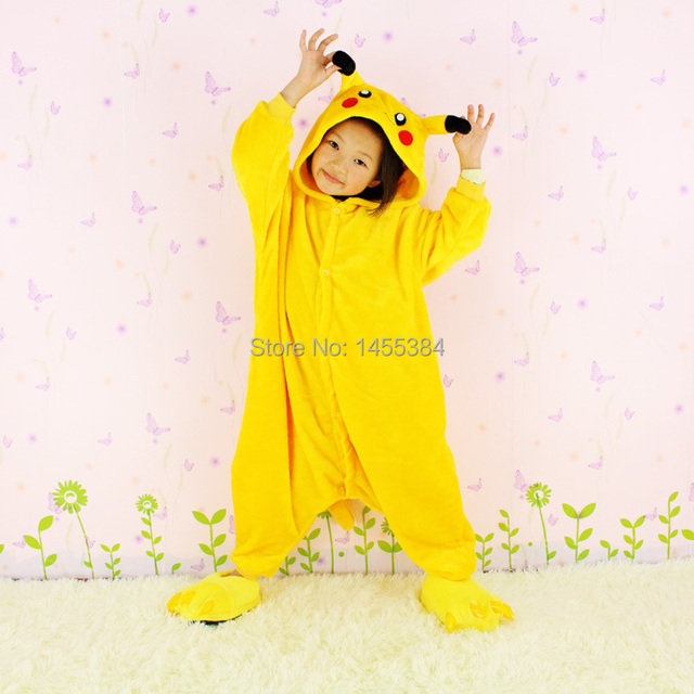flannel anime pokemon pikachu romper halloween costume for kids pajamas christmas cosplay dress for children casual