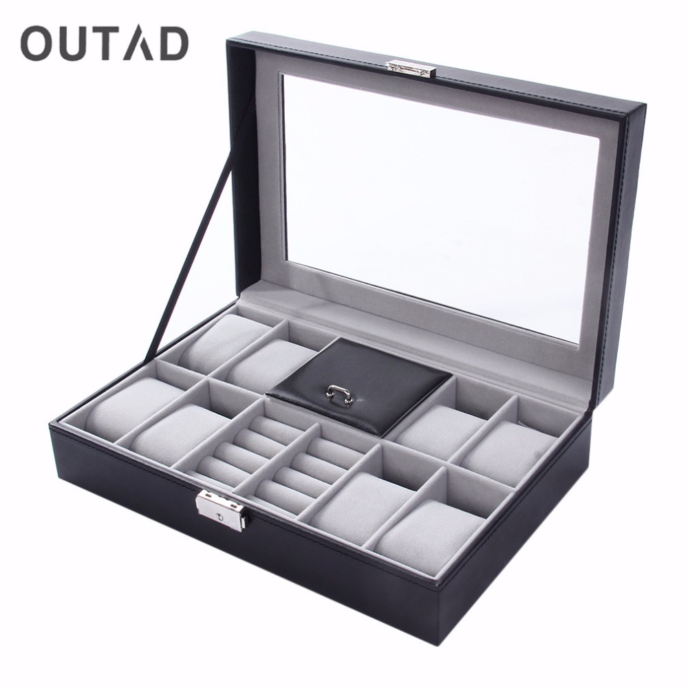 OUTAD Watch Winder Luxury Boxes Casket Grids+3 Mixed Grids PU Leather Black Jewelry Ring Display Case Storage Organizer wood leather atch winders for automatic watches winder box lock rotator 2 3 grids motor storage boxes winder uhrenbeweger caja