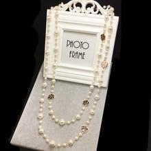 N32 цветы камелии бренд колье Femme ювелирные изделия с жемчугом свитер цепи Perle длинное ожерелье для женщин