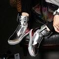 ZCHEKHEN Luxo marca Hop dança legal cor prata preto vermelho Sapatos Botas de Moda Botas de Alta Top kanye West Formadores justin