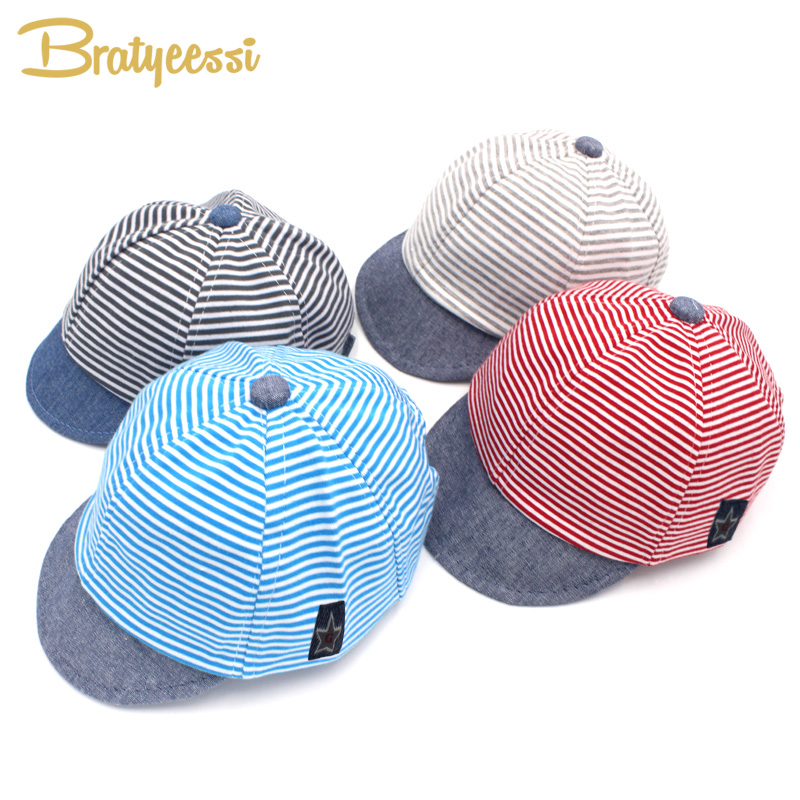 Mote Stripet Baby Hat Sommer Bomull Baby Boy Cap Justerbare Spedbarn Hatter for Girls 6-18M 1 PC