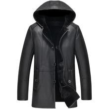 Natural fur coats men a thick winter coat sheep fur jacket with hood coat hot delivery free shipping