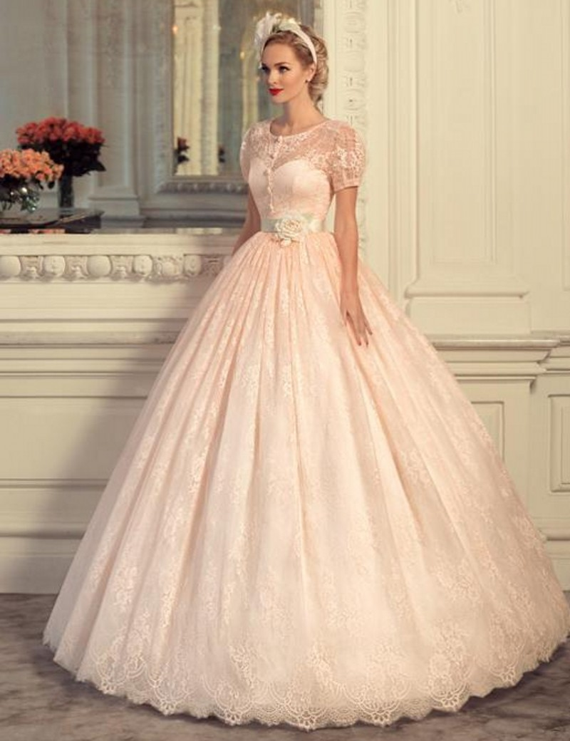 Charming 2016 New Lovely Vintage Pink Lanter Sleeve Lace Ball Gown ...