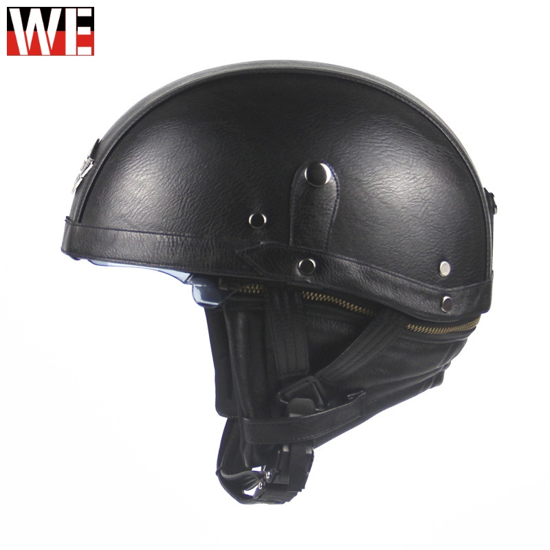 WOSAWE Motorcycle Helmet Retro Personality Half Face Pedal  Leather moto Motocross Protection