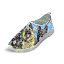 New Breathable mesh shoes for woman With Low Heels Slip On German shepherd dog P