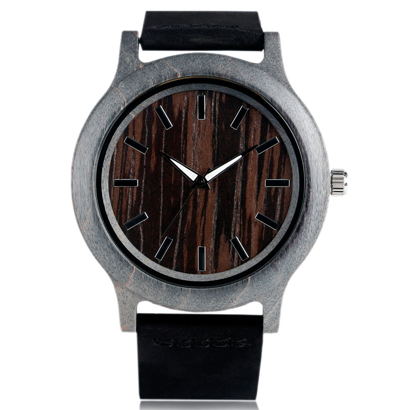 Nature Wood Quartz Watch Men Fashion Bamboo Wooden Cool Wristwatches Genuine Leather Band Strap Analog Relogio Masculino Clock