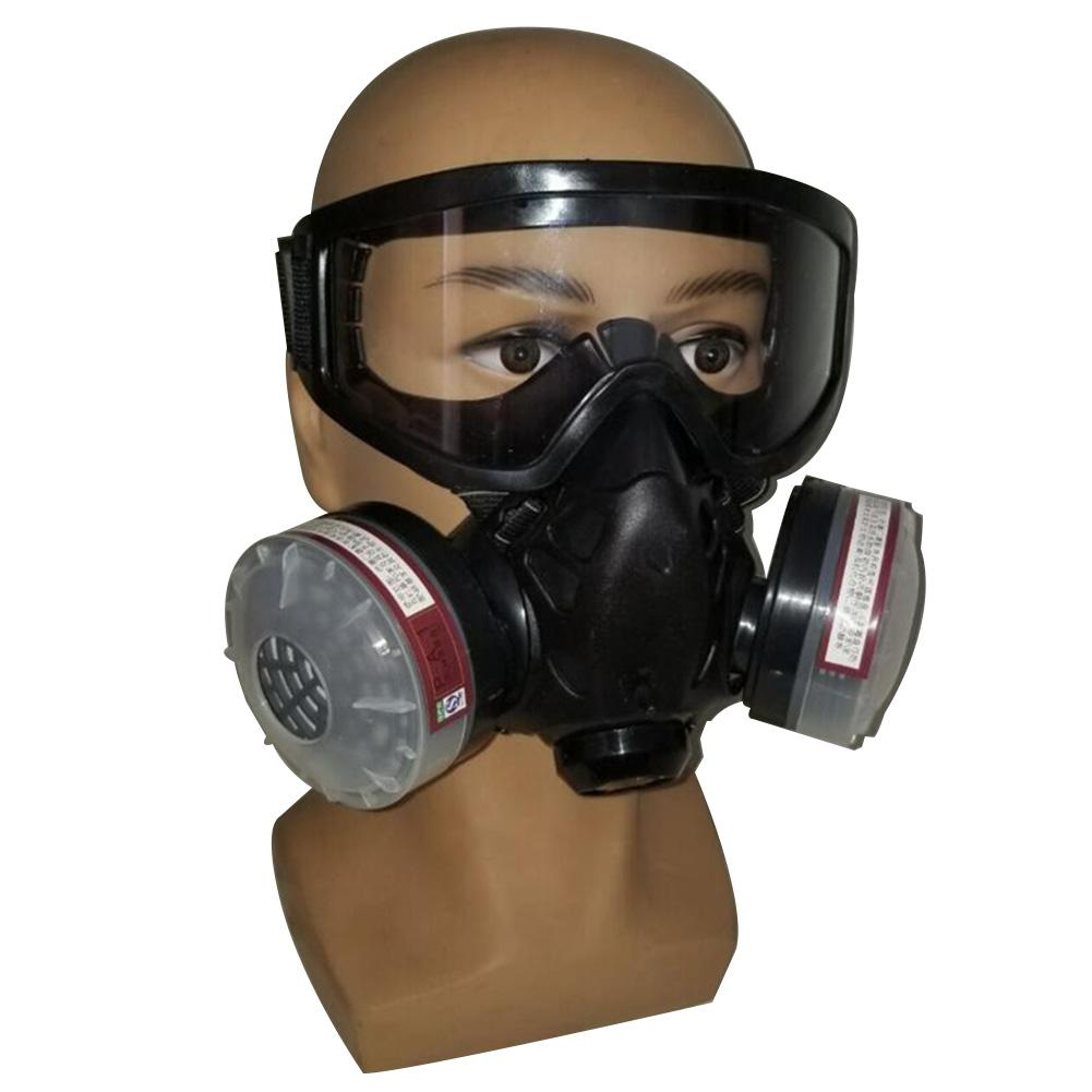 In stock Half Face Gas Mask With Anti fog Glasses N95 Chemical Dust Mask Filter Breathing In stock! Half Face Gas Mask With Anti-fog Glasses N95 Chemical Dust Mask Filter Breathing Respirator For Painting Spray Welding