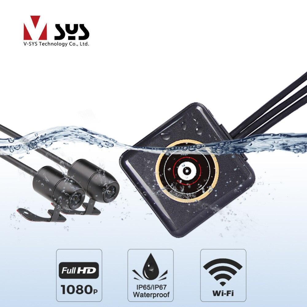 Vsys всего тела Водонепроницаемый Водитель Мотоцикла Регистраторы P6FL WI FI двойной 1080P Full HD Камер Черный ящик для мотоцикла DVR регистраторы