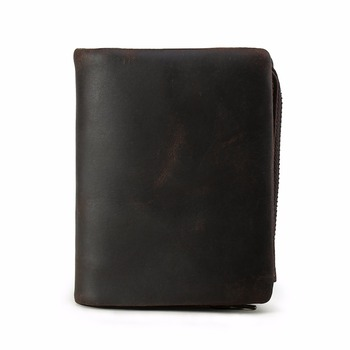 TIDING top grain cowhide leather zipper wallets purse with coin card slots short bifold money pouch simple and sleek style 41273