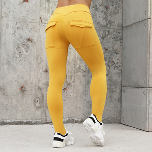 Image 1 - NORMOV Workout Vrouwen Leggings Hoge Taille Elastische Push Up Met Pocket Enkellange Polyester Legging Casual Geel Leggings